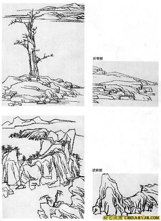 手绘山石图片素材
