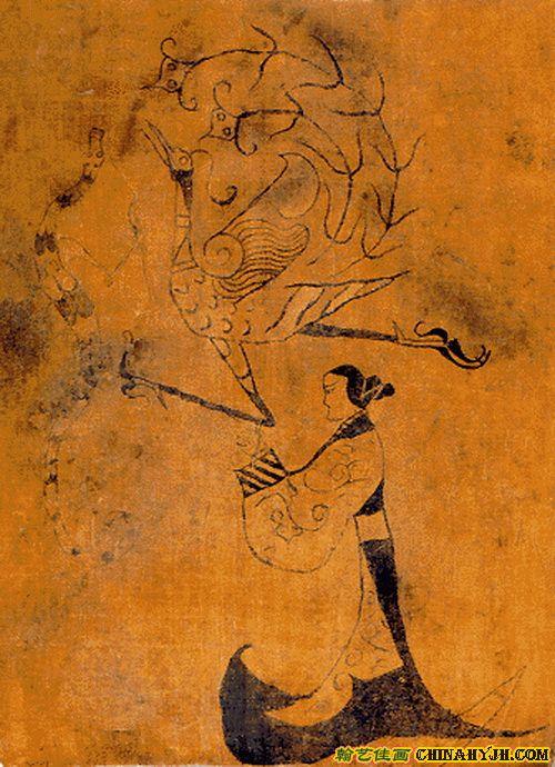 古代美人图手绘黑白