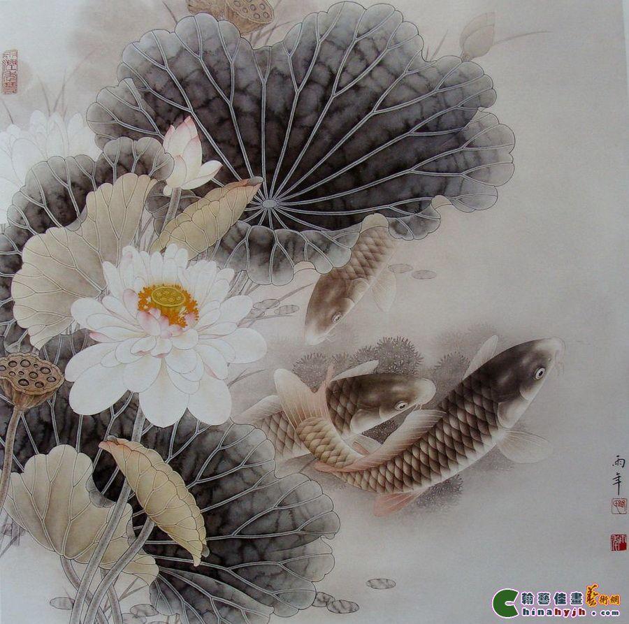 跟著名工笔画大师路雨年老师学工笔画之 鱼鳞的分染珍贵资料